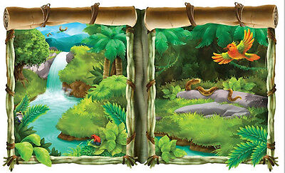 TROPICAL JUNGLE Scene Setter party wall decoration kit 5' scenic window trees (Jungle Scene Setter)