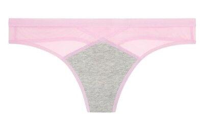 Victoria's Secret Cotton Mesh Thong Charcoal Gray w/ Pink Bubbles sz L