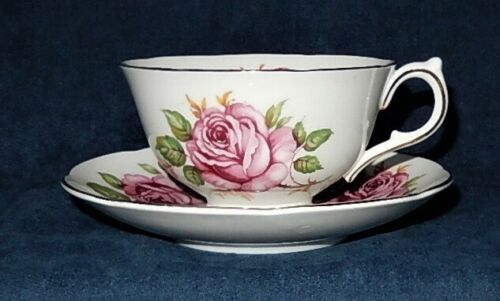 VINTAGE ADDERLEY ~ BONE CHINA ~ PINK ROSE № M456 ~ TEACUP & SAUCER