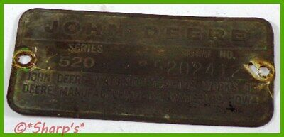 John Deere 520 Serial Number Tag 1956 5202412 Brass Tag Missouri Tractor
