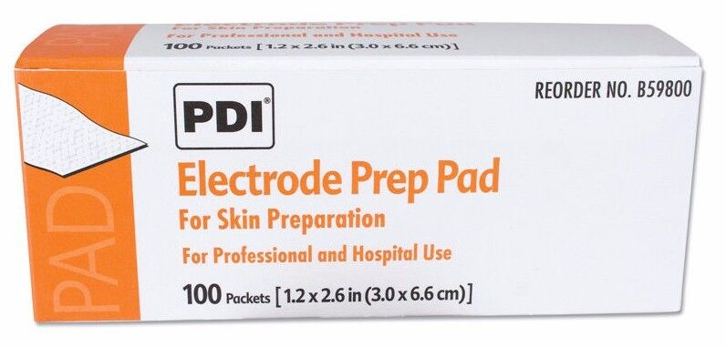 Electrode Prep Pads for Skin Preparation by PDI Healthcare, box of 100