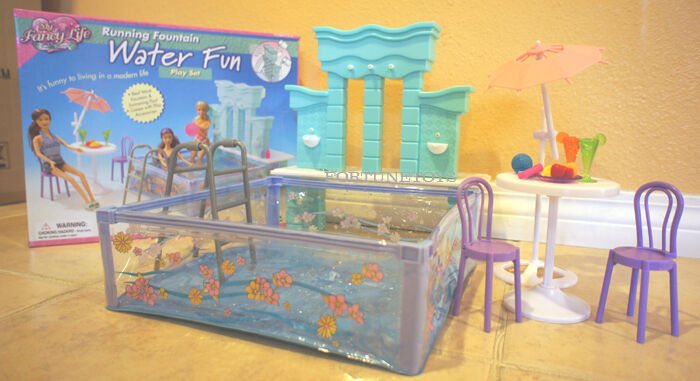 FANCY Life DOLL HOUSE Furniture SIZE POOL WATER FUN RUNNING FOUNTAIN PLAY SET