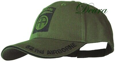 82nd Airborne Insignia Hat / U.S. Army OD Green Baseball Cap Insignia Baseball Cap