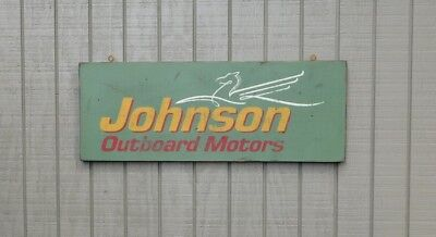 PRIMITIVE VINTAGE JOHNSON OUTBOARD MOTORS REPLICA TRADE SIGN - SEA HORSE  LOGO