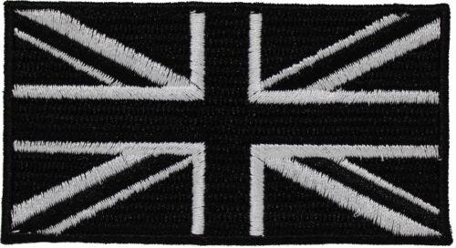BLACK UK FLAG PATCH embroidered iron-on UNION JACK GB ENGLAND