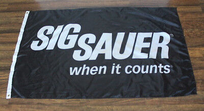 Sig Sauer When It Counts Flag Firearms Black  Banner Logo Gun Shop Store NRA New