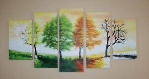 Handpainted & Textured Oil Painting - Four Seasons