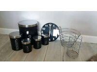 Matching 8pc black utensil, coffee, tea and clock kitchen set