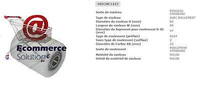 GALET VULKOLLAN 82 95 98 20 mm MIC TRANSPALETTE MANUEL TM 22 PIECE DETACHEE
