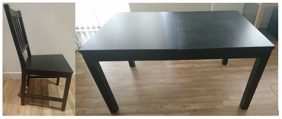 Ikea Bjursta Extending Dining Table & 4 Stefan Chairs FREE DELIVERY 070