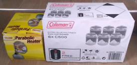 Sunngas 1Kw Parabolic Heater & 6 X Coleman C500 Gas Cartridges