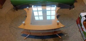 Glass top coffee table with drawer