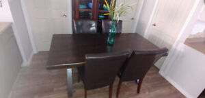 Solid Acacia Wood Farm Table and Four Bonded Leather Chairs