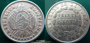 Old silver coin _ Bolivia -  133 Years Old