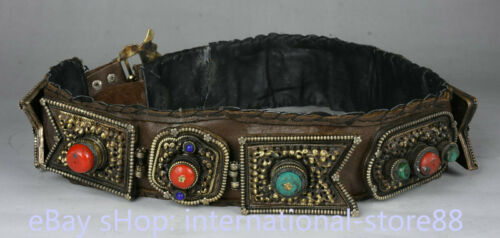34 inch Old Tibetan Cowhide Copper Gem Minority Nationality Waistband Belt