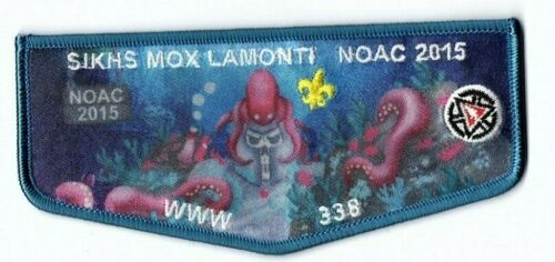 Boy Scout OA 338 Sikhs Mox Lamonti Lodge 2015 NOAC Blue Border Flap #1
