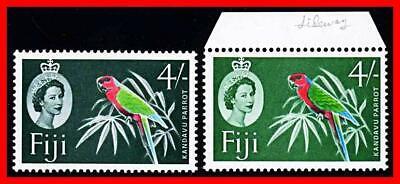 FIJI 1964/66 KANDAVU PARROT 4/- SC#186a-b MLH/MNH BIRDS