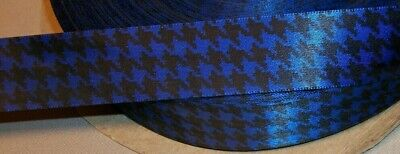 5 Yards BLUE & BLACK HOUNDSTOOTH SINGLE FACE SATIN RIBBON  7/8