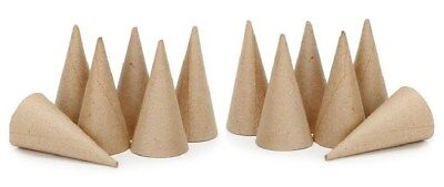 """Lot of 12 Cone Shape 4"""" - Paper Mache - Ready to Paint -Ice cream cone ornaments"""