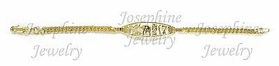 14k Gold Plated Good Luck Lucky ID Cuban Bracelet Elephant Horseshoe Clover ()