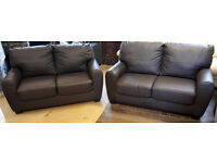 2 X Stefano Regular Leather Sofa - Chocolate --Can Deliver--