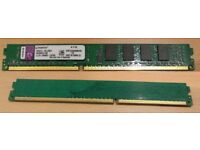 Kingston KVR1333D3N9/2G (2 GB, PC3-10600 (DDR3-1333), DDR3 SDRAM, 1333 MHz, DIMM