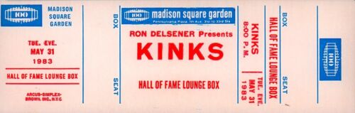 THE KINKS 1983 STATE OF CONFUSION TOUR UNUSED MSG CONCERT HOF LOUNGE BOX TICKET