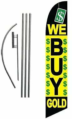 We Buy Gold Pawn Shop Advertising Feather Banner Swooper Flag Sign With Flag...