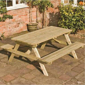 New 5ft wooden picnic bench pub wood garden table seat pressure treated benches ebay for Pressure treated wood for garden