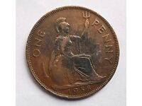 Old Penny Coin King George VI 1938