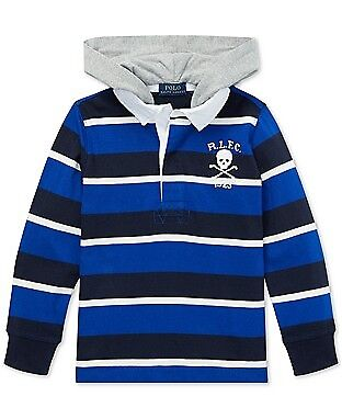 Polo Ralph Lauren  Boys Striped Hooded  Rugby Shirt  size 2T 5 L(14/16)