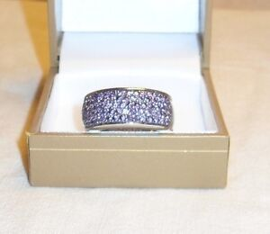 Silver - Amethyst Dinner Ring – Wide band Size 9