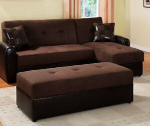Espresso dark brown large coffee table ottoman microfiber faux leather rectangle ebay Dark brown leather ottoman coffee table
