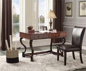 NEW HOMELEGANCE WRITING DESK   3-Drawers Table, Cherry Maule Writing Desk - HOME OFFICE FURNITURE  85851688