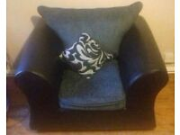 Faux Leather & fabric armchair 4 months old £50 - collection only