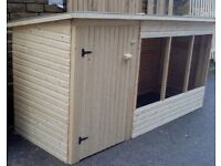 9ft Wooden Dog Kennel & Run