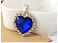 Blue Heart Diamond Style Necklace Pendant