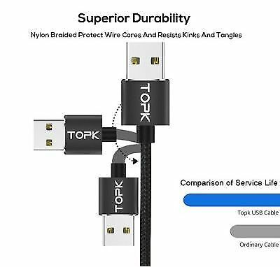 TOPK 1M LED Magnetic USB Cable Best Premium Nylon Braided Fast (Best Magnetic Charging Cable)