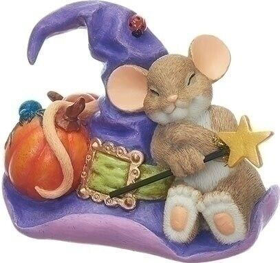 Charming Tails Mice on Wicked Witch Hat Halloween Mouse Figurine Bruja