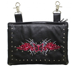 Studded Belt Bag with Red & Silver Butterfly