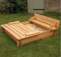 Outdoor sandbox with lid that folds into a bench
