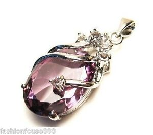 Solitaire Amethyst Silver Crystal Pendant With Necklace