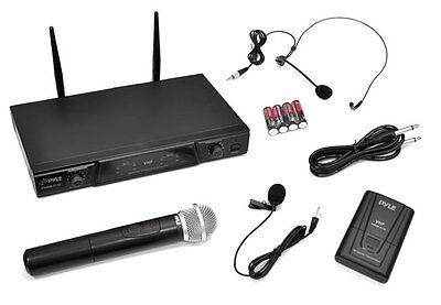 Pyle PDWM2115 VHF Wireless Microphone W/ Handheld, Headset & Lavalier MIC's