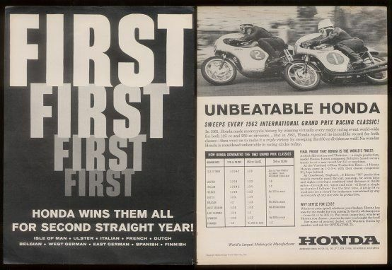 1963 Honda racing motorcycle photo and race results ad