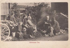 Romany Gypsy Gipsy Family At Caravan With Tea Drinking Antique 1903 Postcard