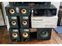 B&W (Bower & Wilkins) 600 series speakers. Amazing surround with PIONEER RECIEVER VSX 1021-K 7.1