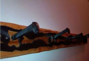 Custom Made Wood & Metal Railway Spikes Coat Rack