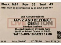 2 x Beyonce & Jay z Tickets London Sat 16th June