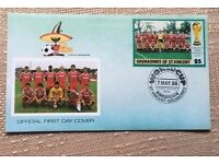 Football World cup Mexico 1986 stamps- 6 first day covers from Grenadines of St Vincent