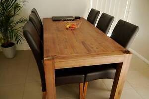 Solid Timber Dining Table with matching chairs Bracken Ridge Brisbane North East Preview